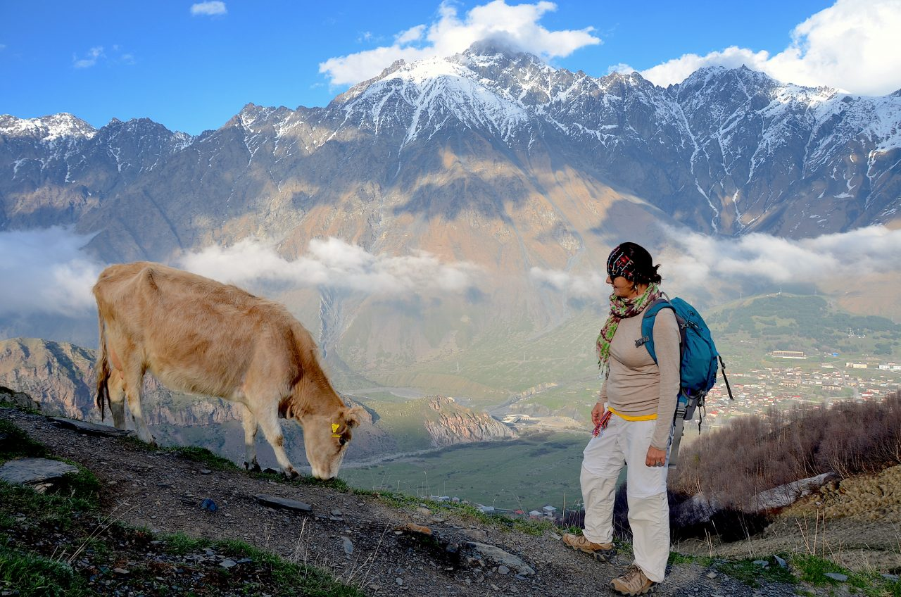 Stepantsminda and the Greater Caucasus Mountains