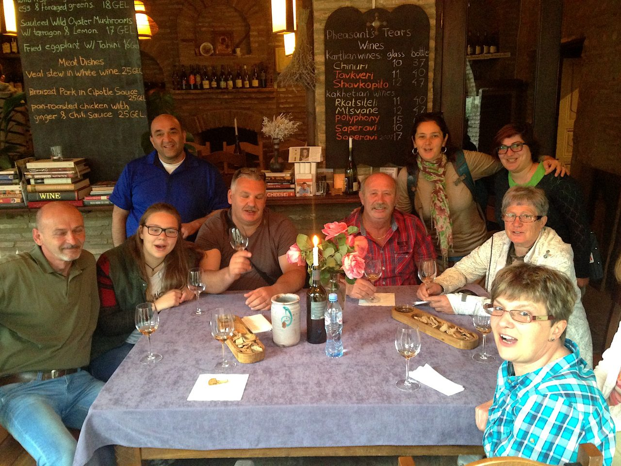 With the owner and some guests at Pheasant's Tears Winery